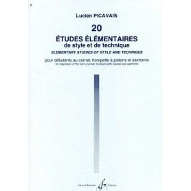 20 ETUDES  ELEMENTAIRES de style et de technique de Lucien PICAVAIS